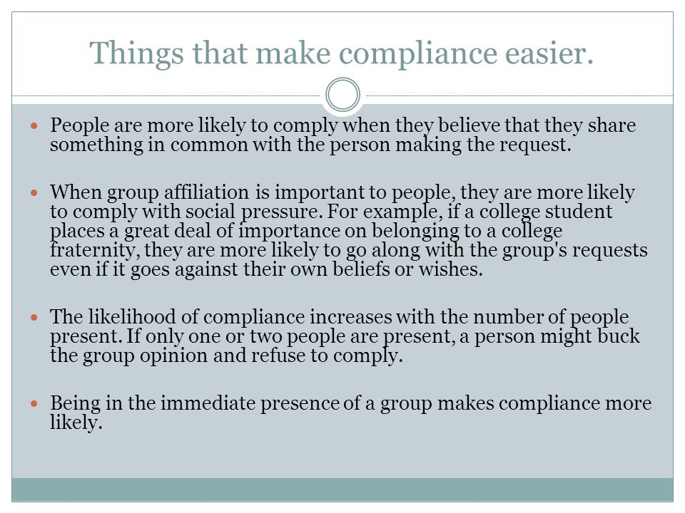 Things that make compliance easier.