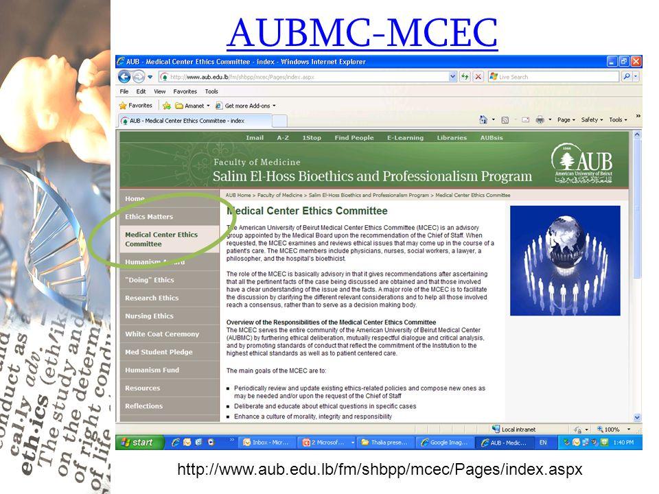 AUBMC-MCEC http://www.aub.edu.lb/fm/shbpp/mcec/Pages/index.aspx