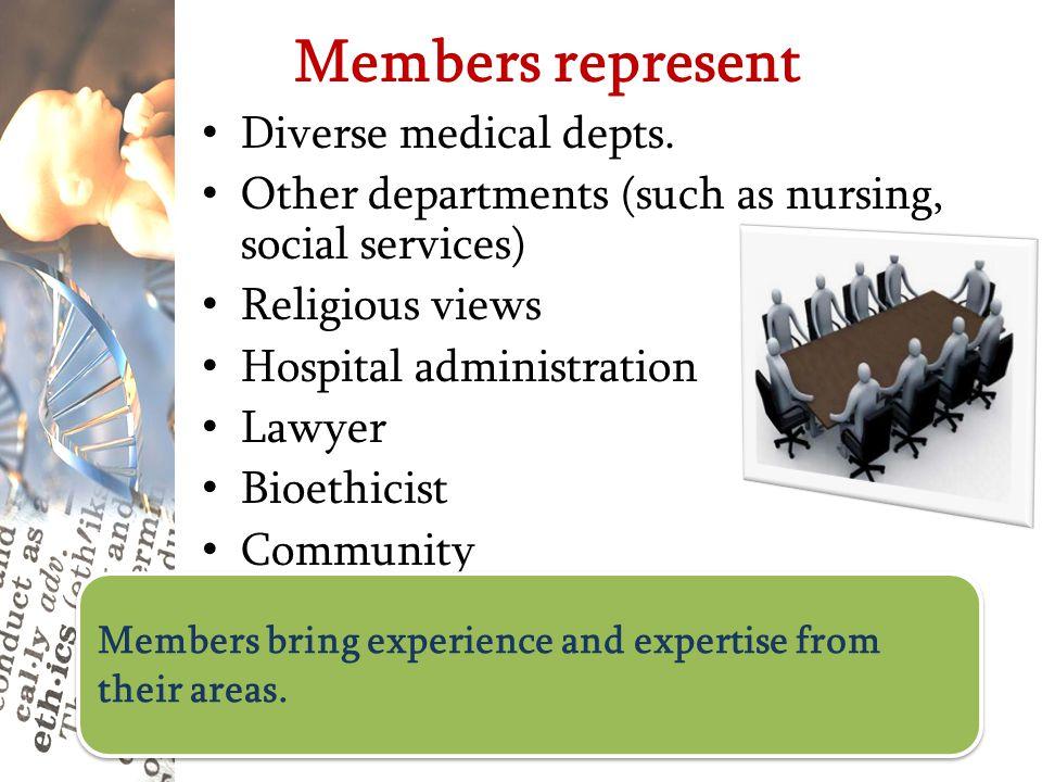 Members represent Diverse medical depts.