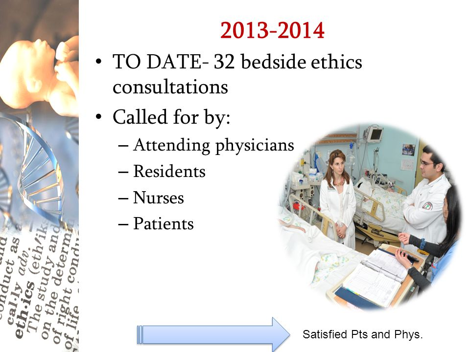 2013-2014 TO DATE- 32 bedside ethics consultations Called for by: