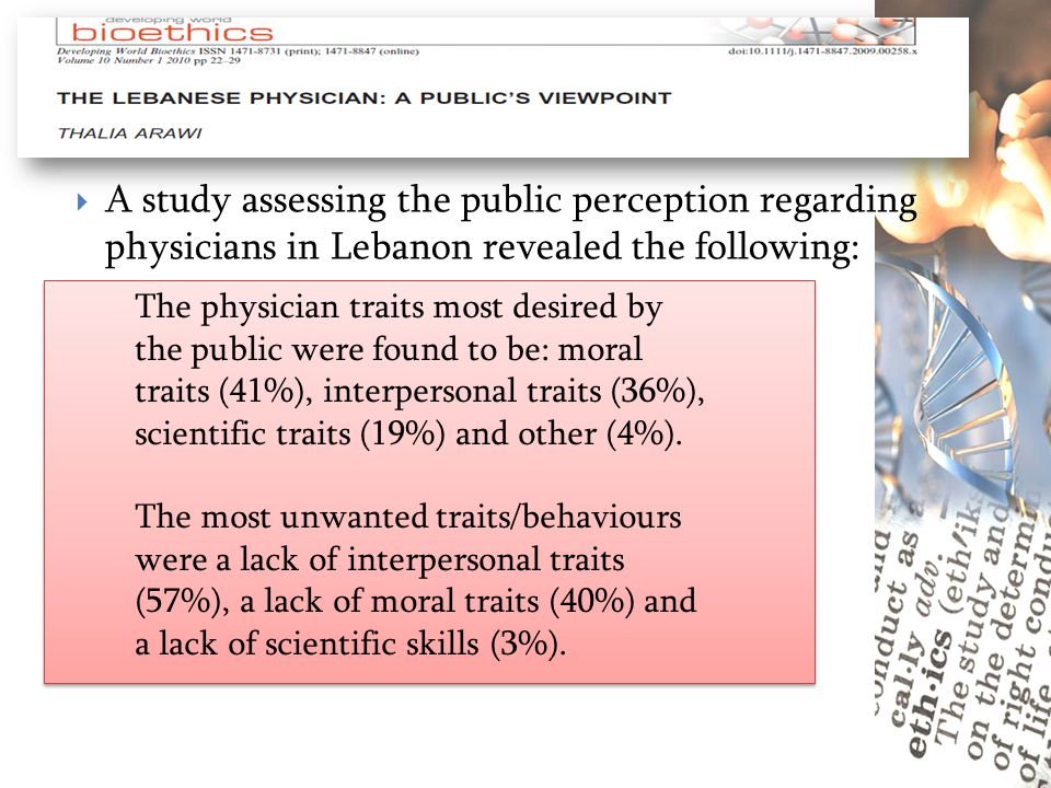 A study assessing the public perception regarding physicians in Lebanon revealed the following: