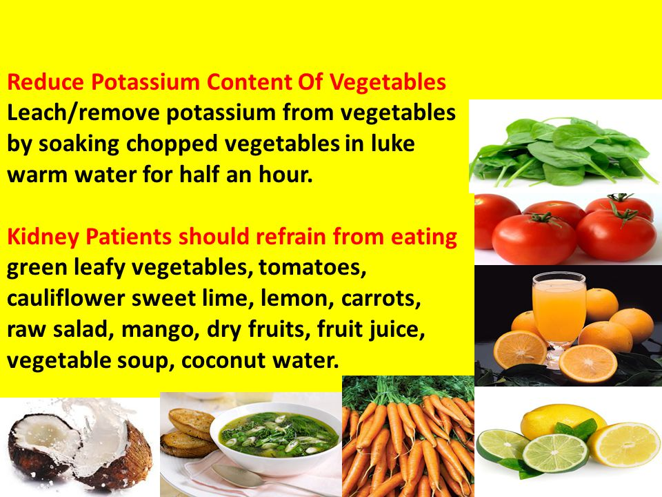 Reduce Potassium Content Of Vegetables Leach/remove potassium from vegetables by soaking chopped vegetables in luke warm water for half an hour.