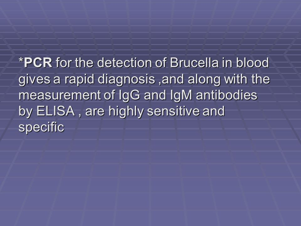 *PCR for the detection of Brucella in blood gives a rapid diagnosis ,and along with the measurement of IgG and IgM antibodies by ELISA , are highly sensitive and specific