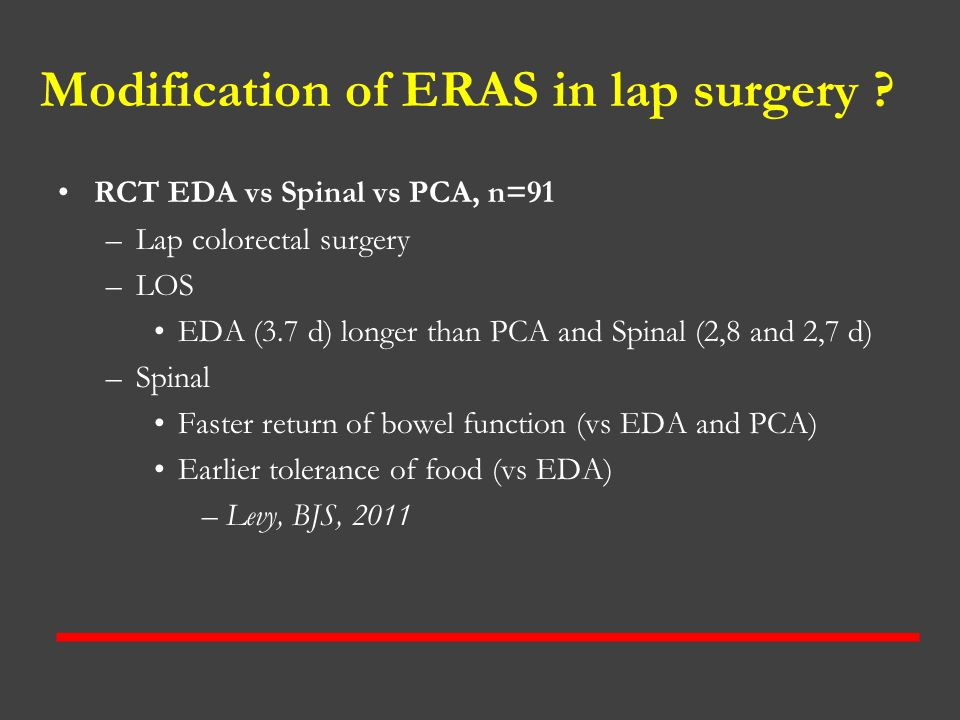 Modification of ERAS in lap surgery
