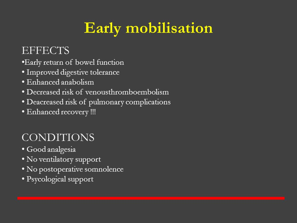 Early mobilisation EFFECTS CONDITIONS Early return of bowel function