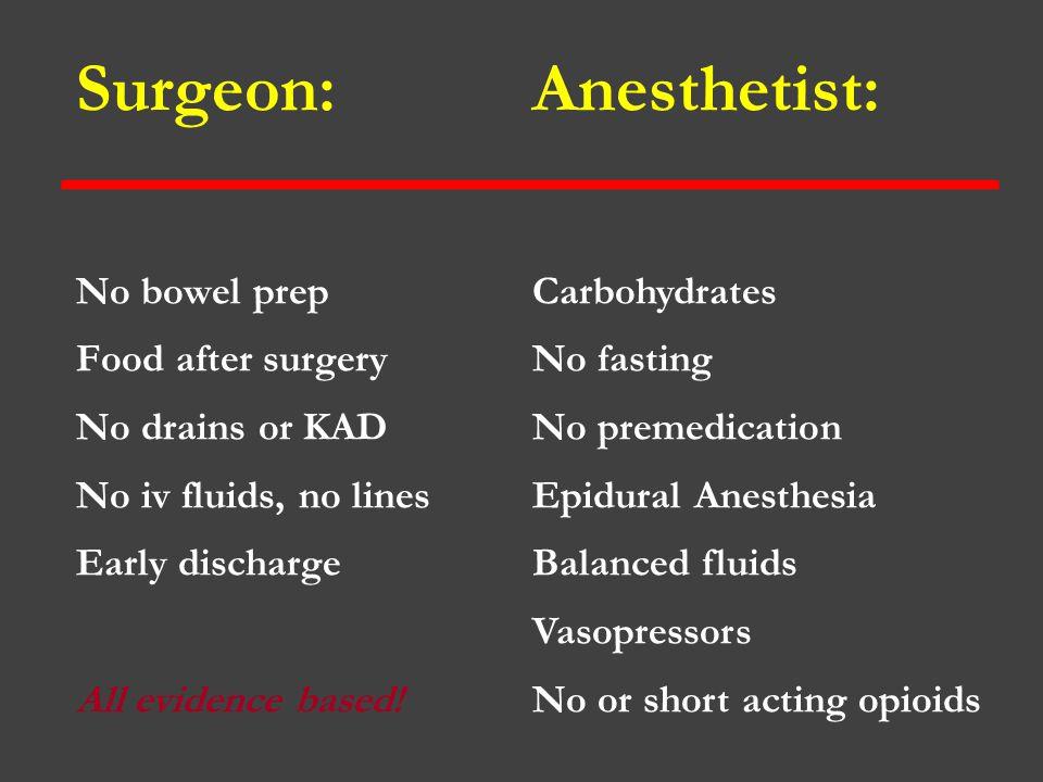 Surgeon: Anesthetist: No bowel prep Food after surgery