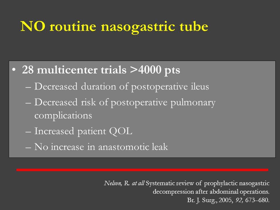 NO routine nasogastric tube