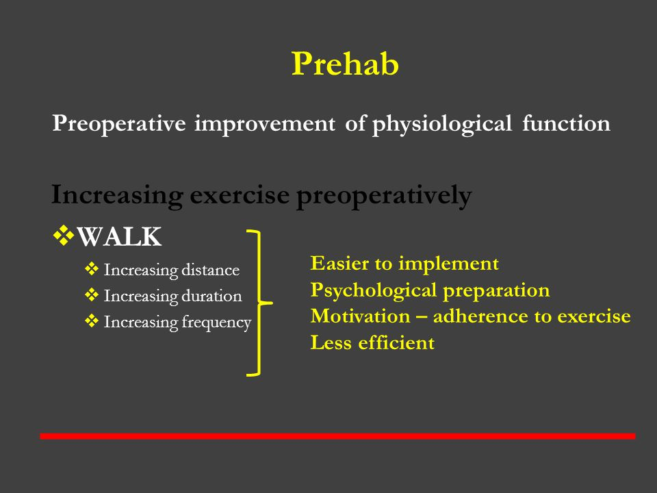 Preoperative improvement of physiological function