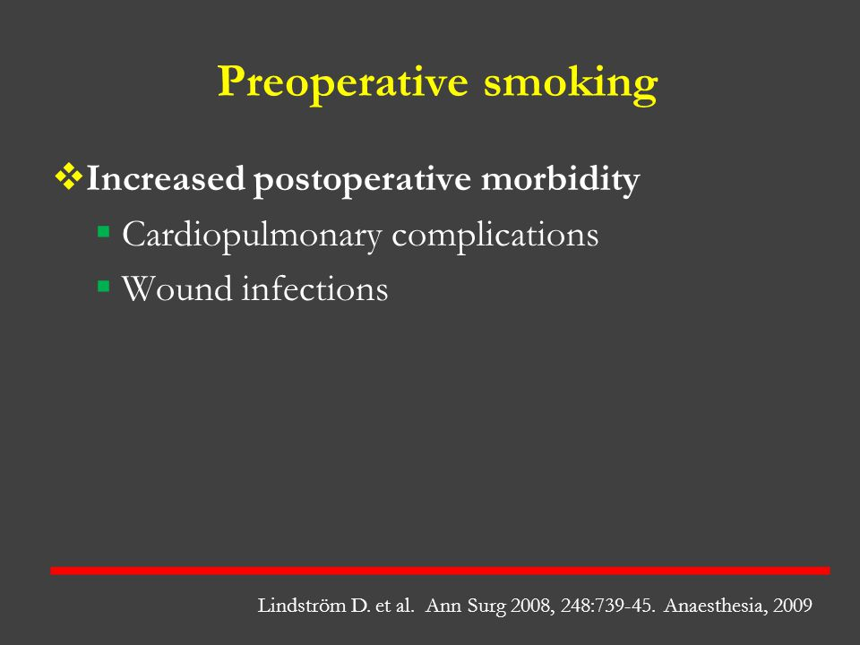 Preoperative smoking Increased postoperative morbidity