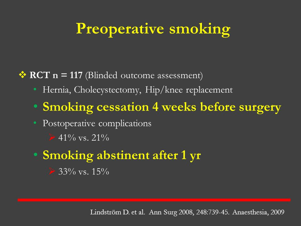 Preoperative smoking Smoking cessation 4 weeks before surgery