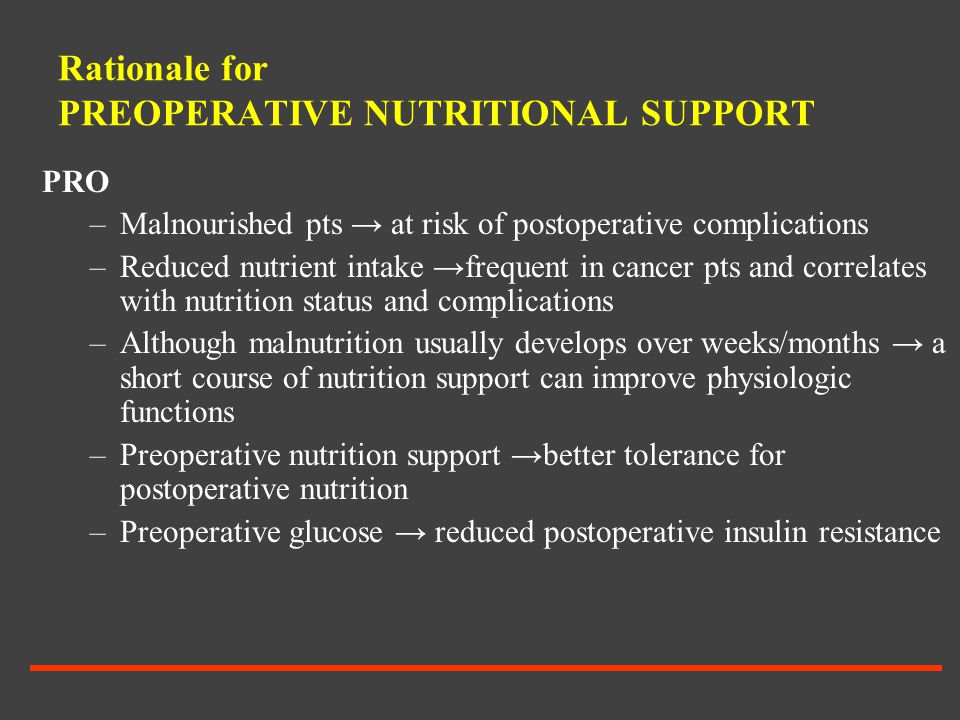 Rationale for PREOPERATIVE NUTRITIONAL SUPPORT