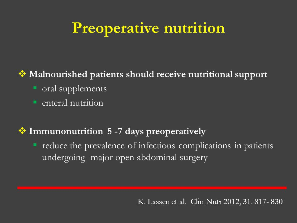 Preoperative nutrition