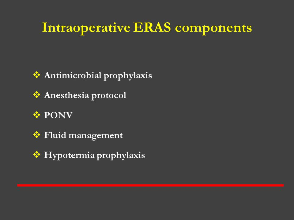 Intraoperative ERAS components
