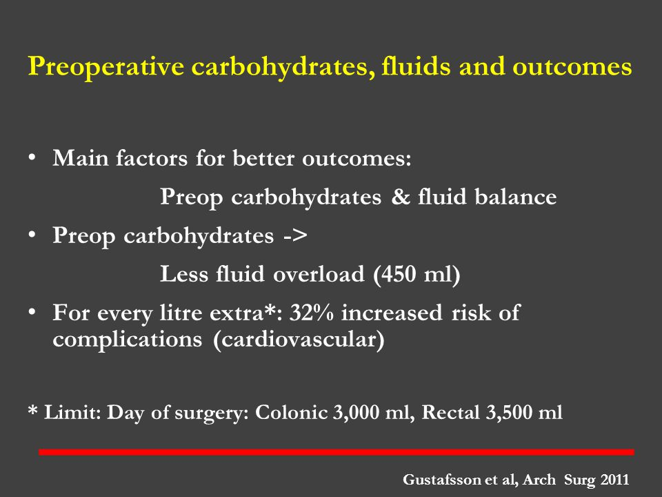Preoperative carbohydrates, fluids and outcomes