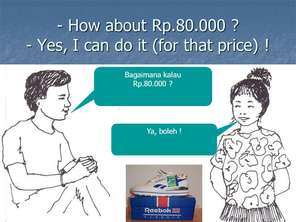 - How about Rp.80.000 - Yes, I can do it (for that price) !