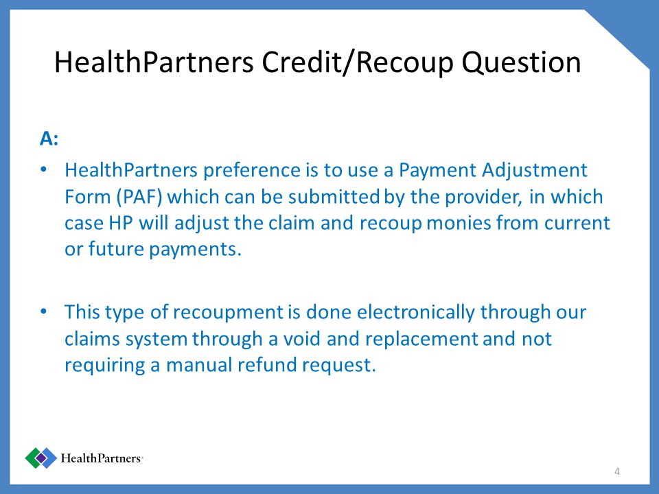 HealthPartners Credit/Recoup Question