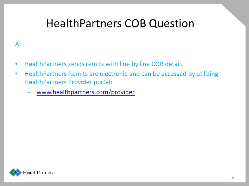 HealthPartners COB Question