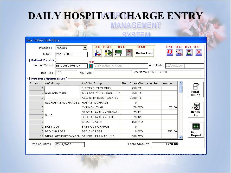 DAILY HOSPITAL CHARGE ENTRY