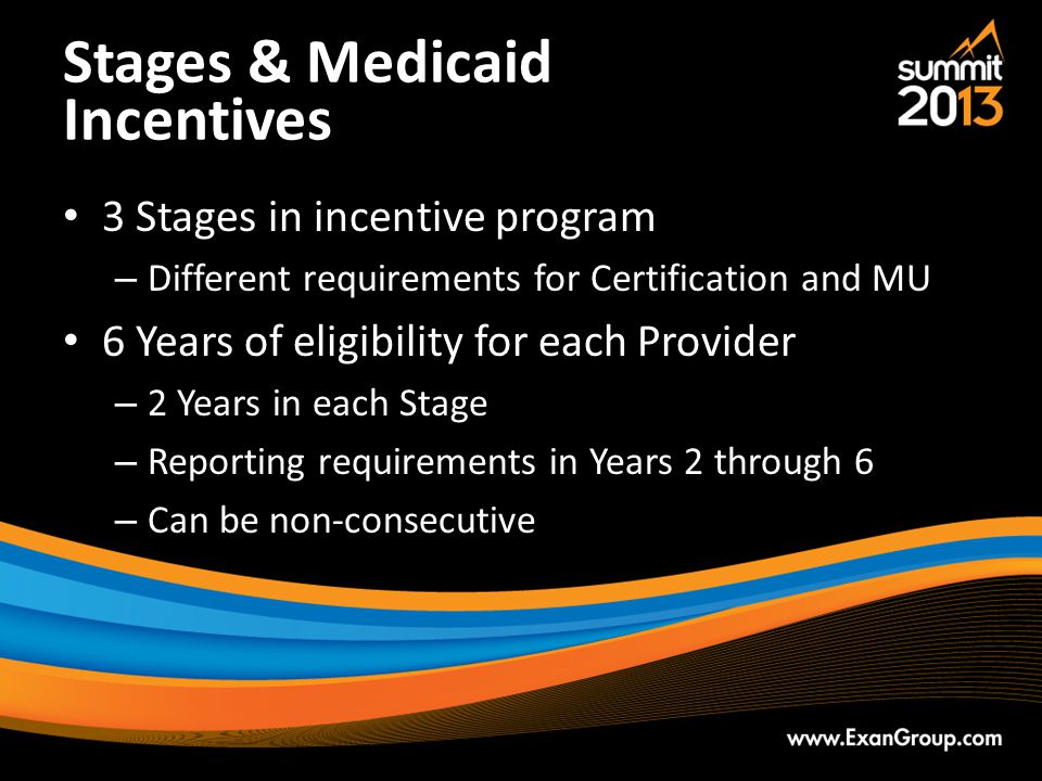 Stages & Medicaid Incentives