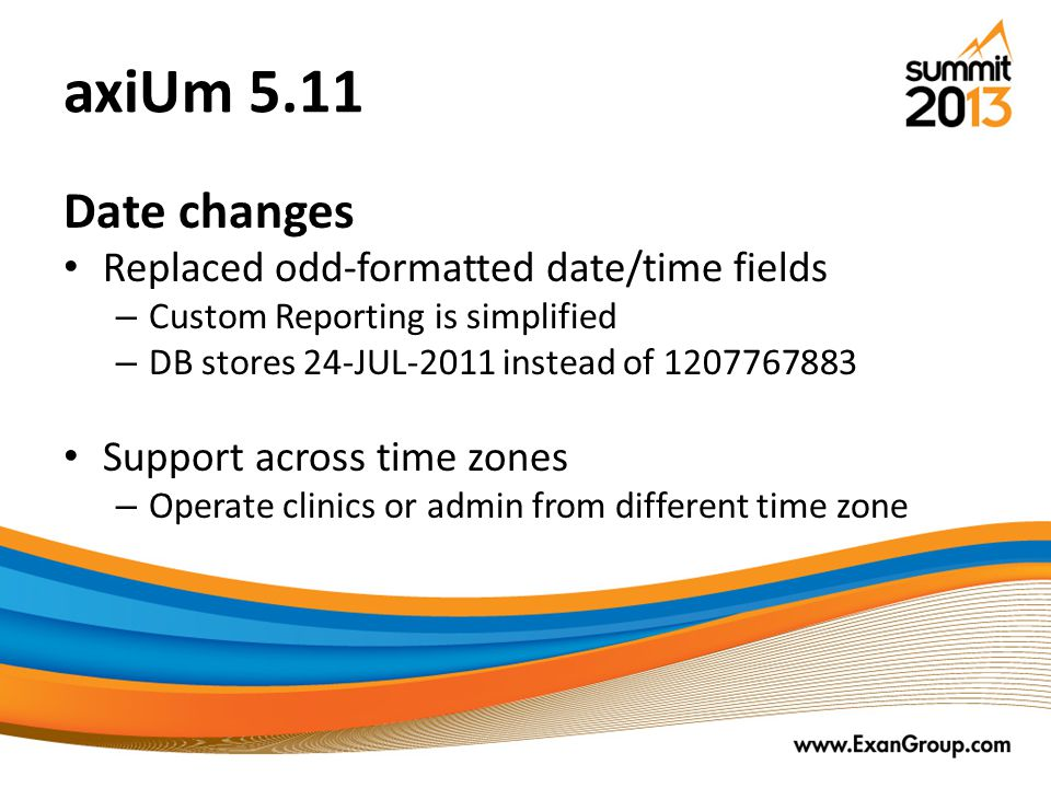 axiUm 5.11 Date changes Replaced odd-formatted date/time fields