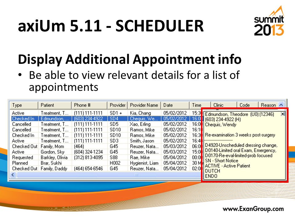 axiUm 5.11 - SCHEDULER Display Additional Appointment info