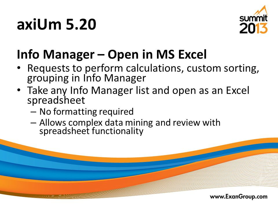 axiUm 5.20 Info Manager – Open in MS Excel
