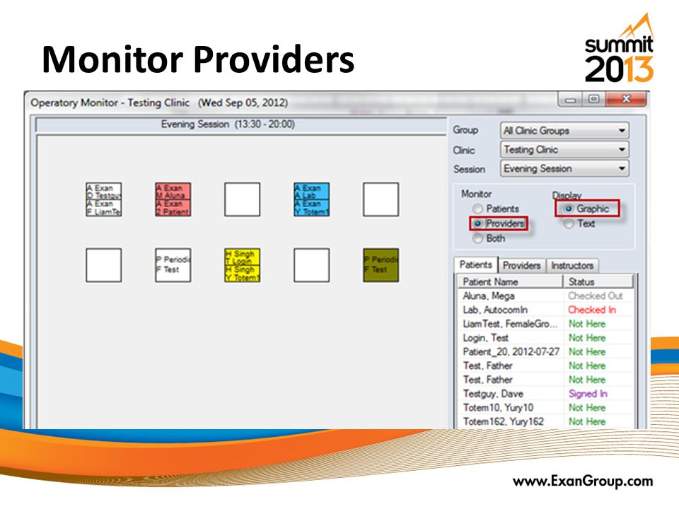 Monitor Providers Chairs are colored with the background of the current notification state.