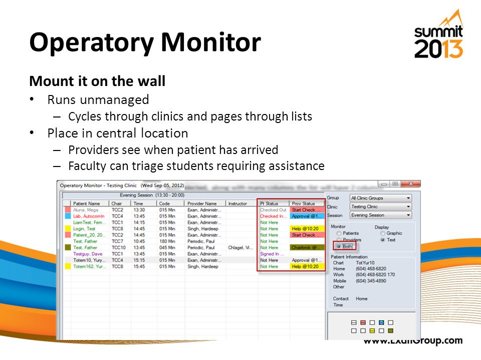 Operatory Monitor Mount it on the wall Runs unmanaged