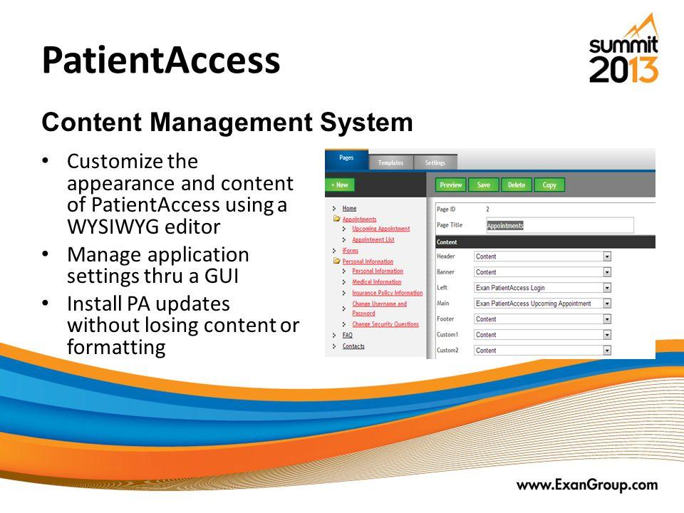 PatientAccess Content Management System