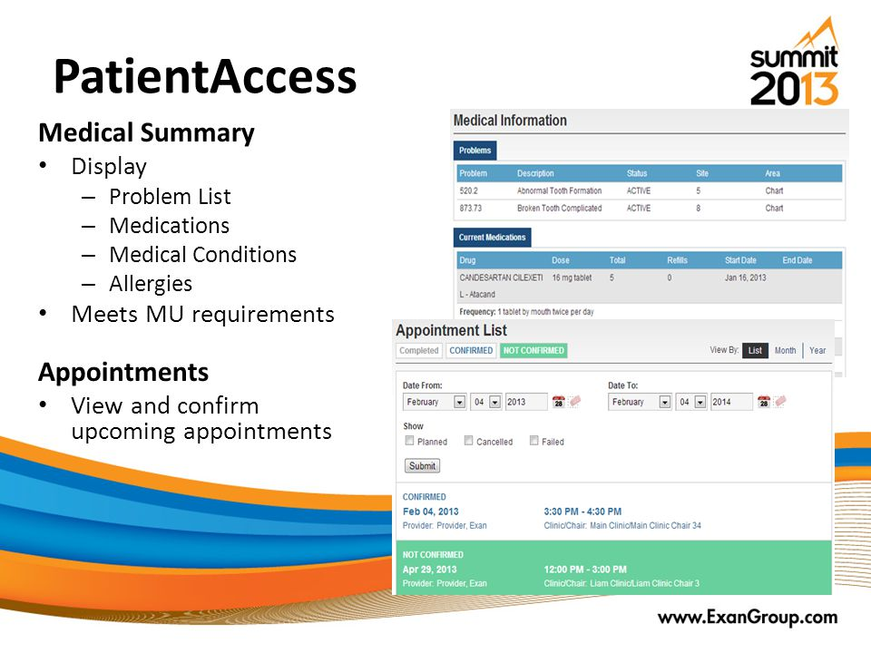 PatientAccess Medical Summary Appointments Display