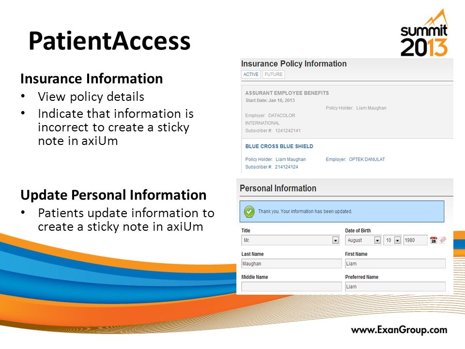 PatientAccess Insurance Information Update Personal Information