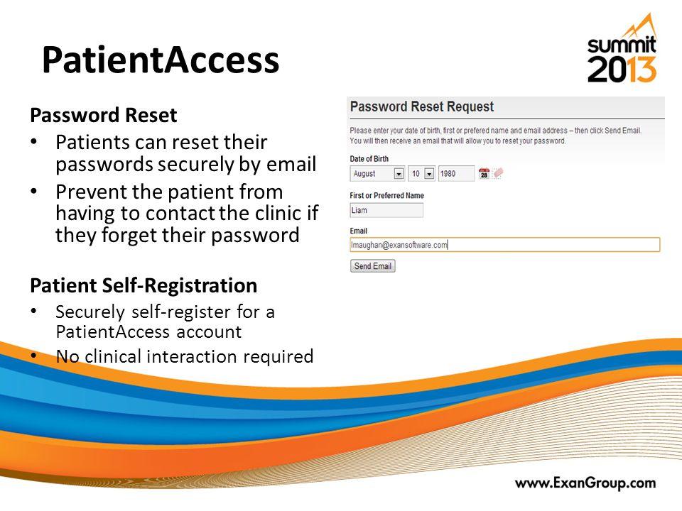 PatientAccess Password Reset