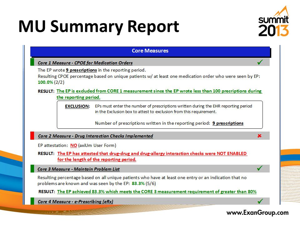 MU Summary Report Green is good Red is bad