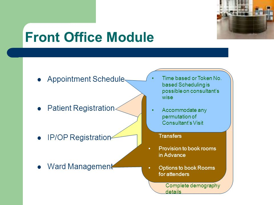 Front Office Module Appointment Schedule Patient Registration