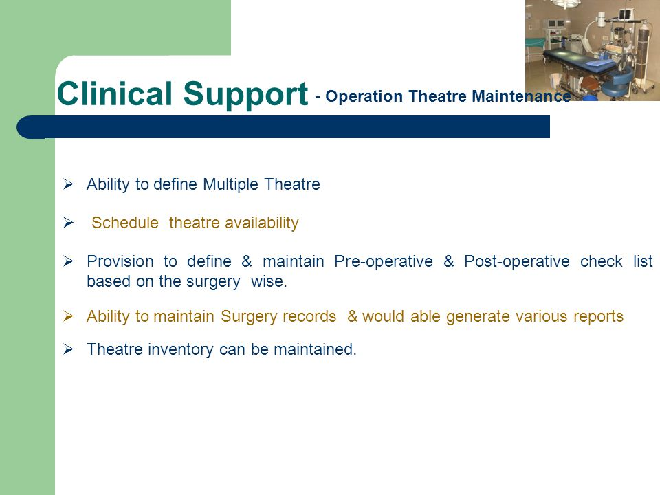 Clinical Support - Operation Theatre Maintenance