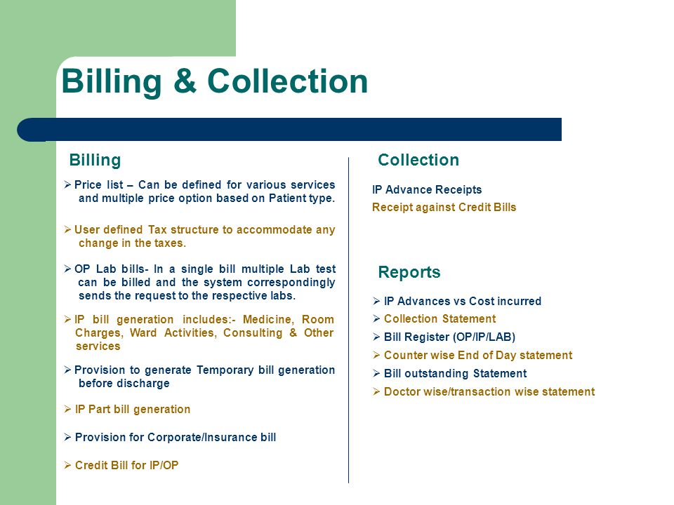 Billing & Collection Billing Collection Reports