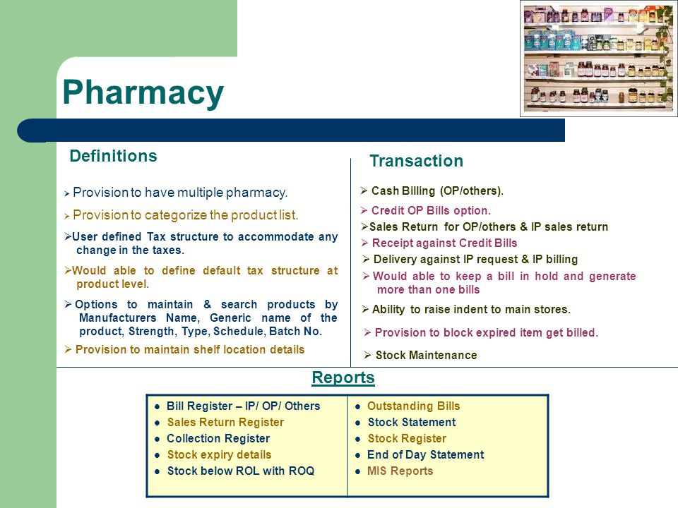 Pharmacy Definitions Transaction Reports Cash Billing (OP/others).
