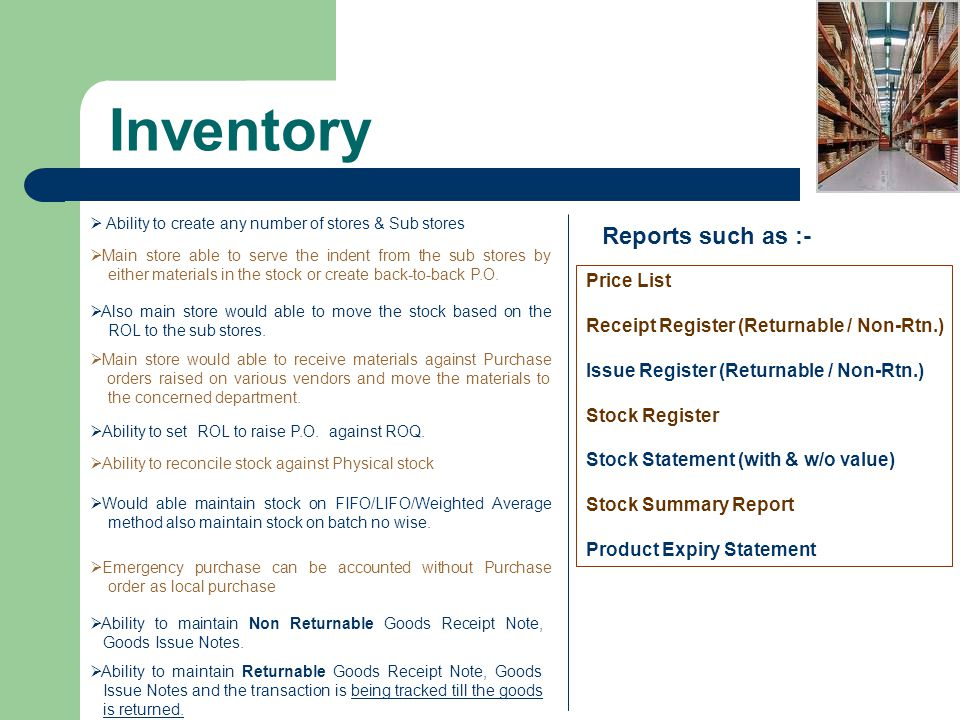 Inventory Reports such as :- Price List
