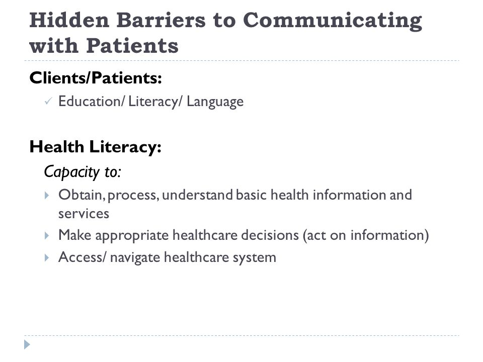 Hidden Barriers to Communicating with Patients