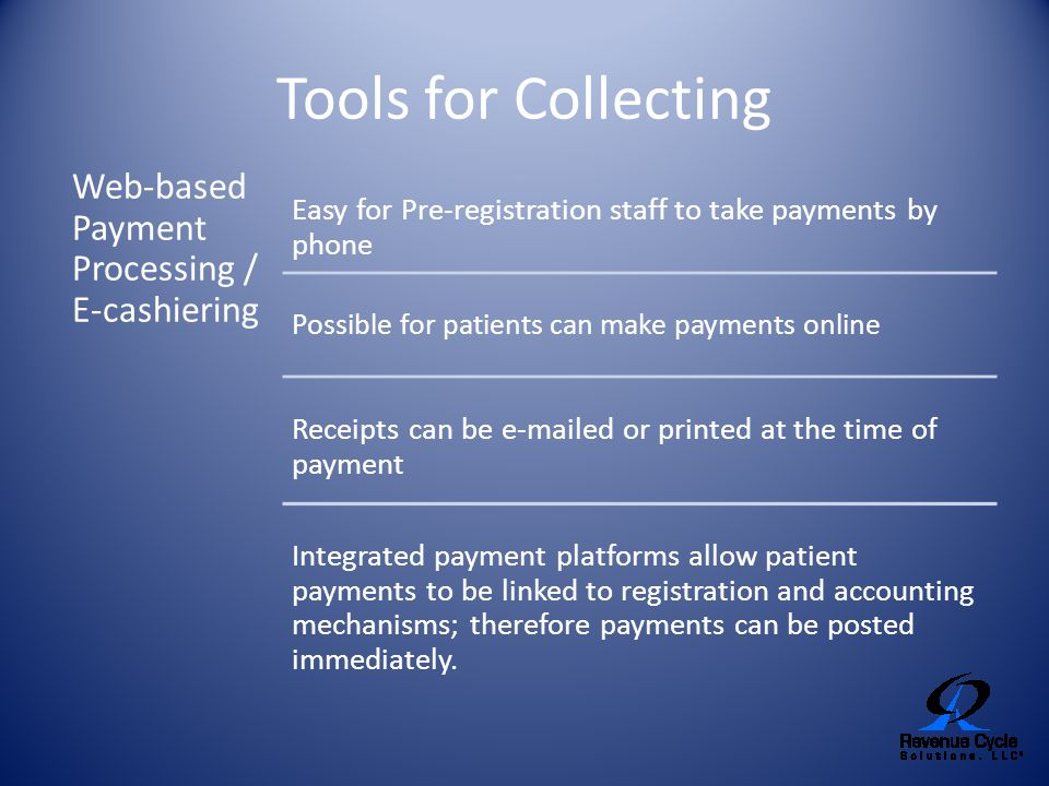 Tools for Collecting Web-based Payment Processing / E-cashiering
