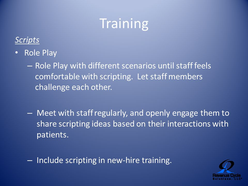 Training Scripts Role Play