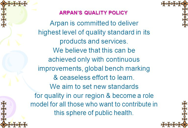 ARPAN'S QUALITY POLICY