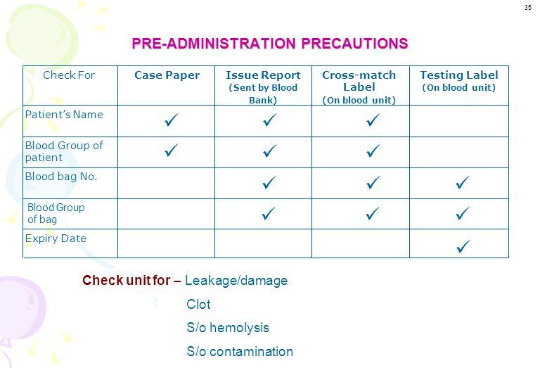PRE-ADMINISTRATION PRECAUTIONS