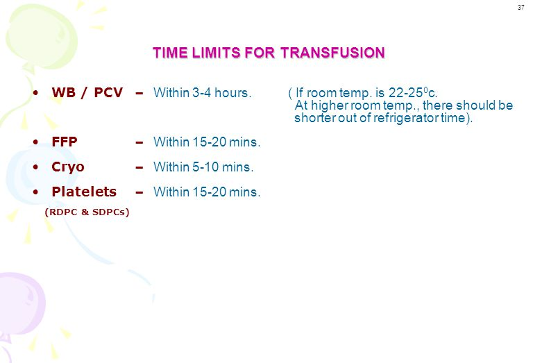 TIME LIMITS FOR TRANSFUSION