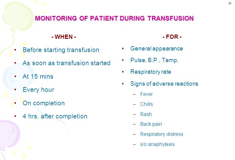 MONITORING OF PATIENT DURING TRANSFUSION