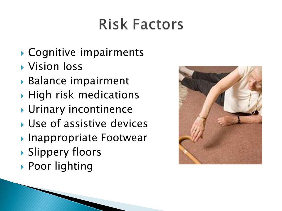 Risk Factors Cognitive impairments Vision loss Balance impairment