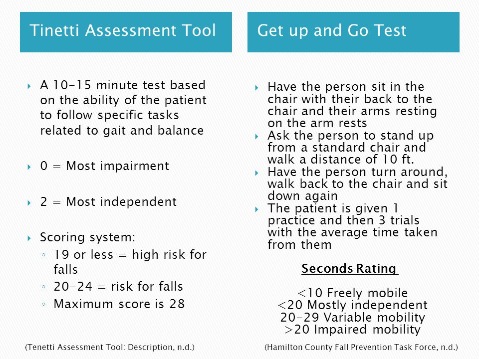 Tinetti Assessment Tool Get up and Go Test