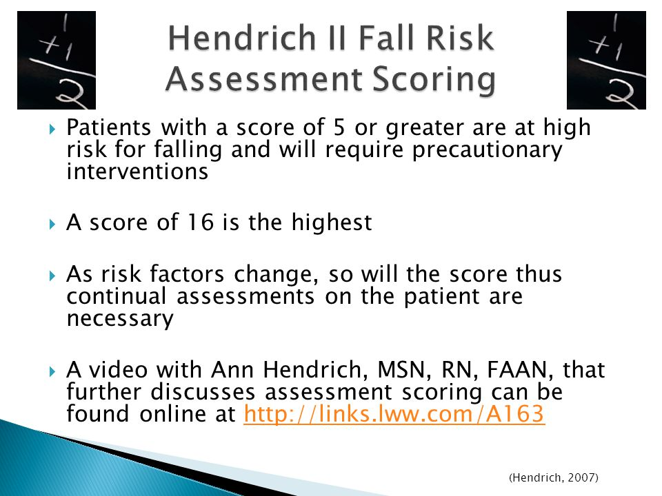 Hendrich II Fall Risk Assessment Scoring