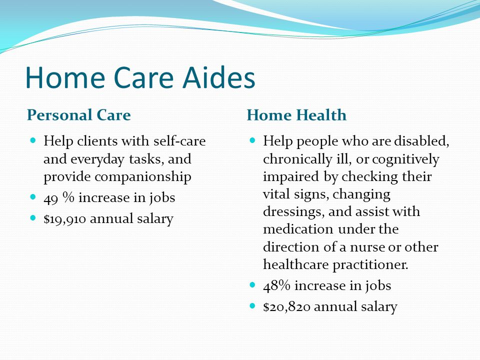 Home Care Aides Personal Care Home Health