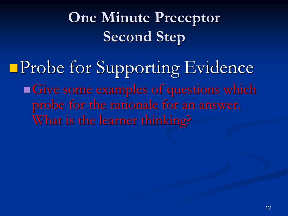 One Minute Preceptor Second Step